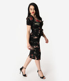 Stop Staring! 1950s Black Floral Peplum Stretch Vital Wiggle Dress