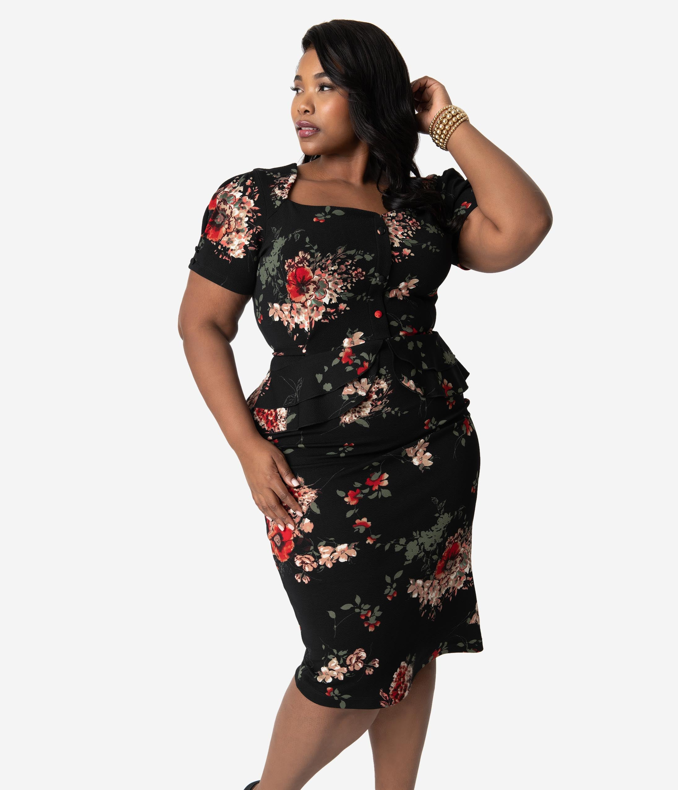 Rockabilly Dresses | Rockabilly Clothing | Viva Las Vegas Stop Staring Plus Size 1950S Black Floral Peplum Stretch Vital Wiggle Dress $141.00 AT vintagedancer.com