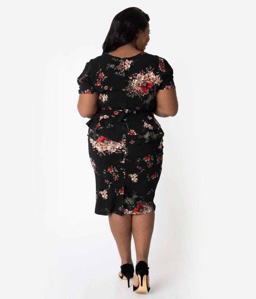 Stop Staring! Plus Size 1950s Black Floral Peplum Stretch Vital Wiggle Dress