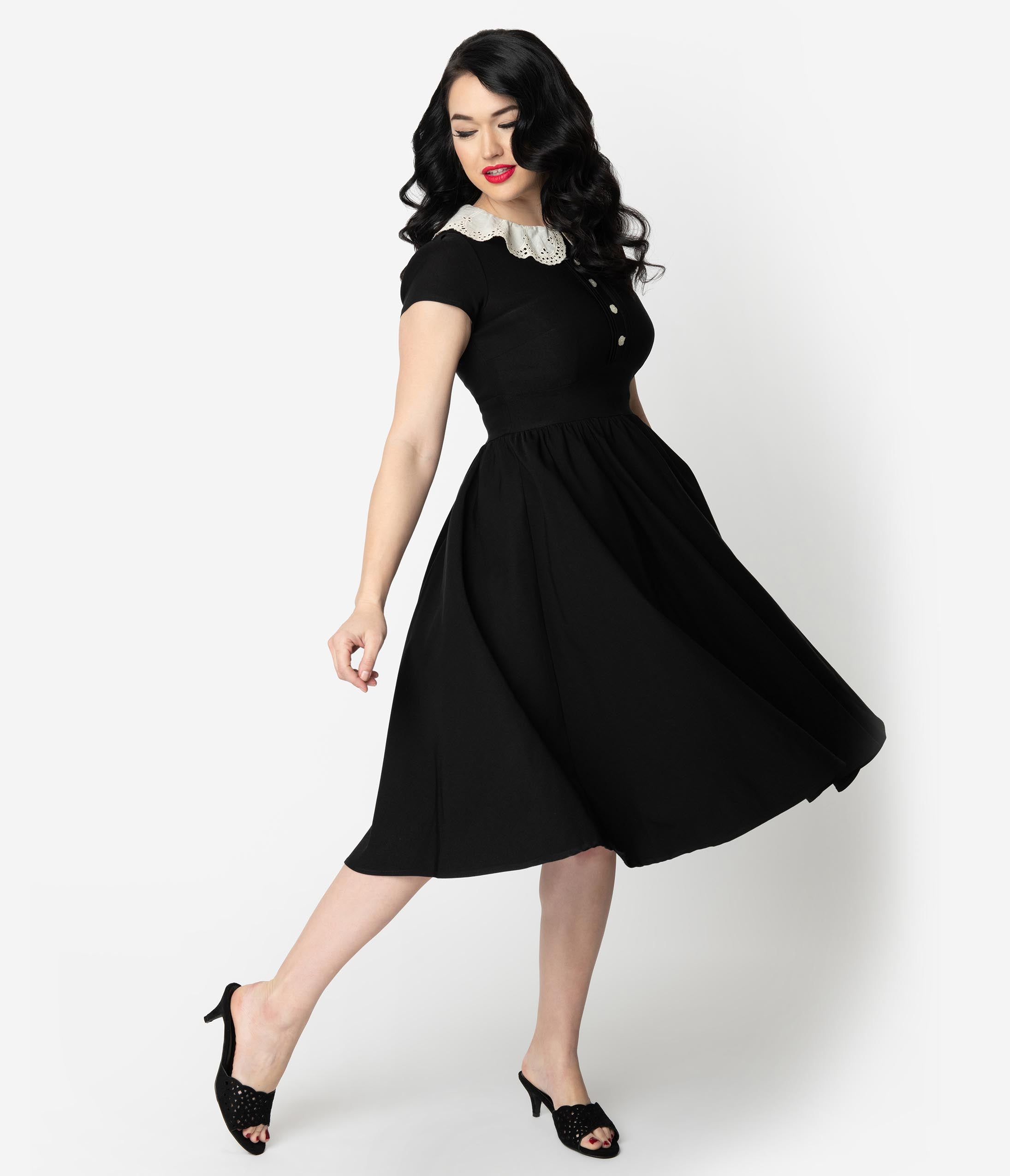 1950s Swing Dresses | 50s Swing Dress Stop Staring Black With Lace Collar Gladil Swing Dress $141.00 AT vintagedancer.com