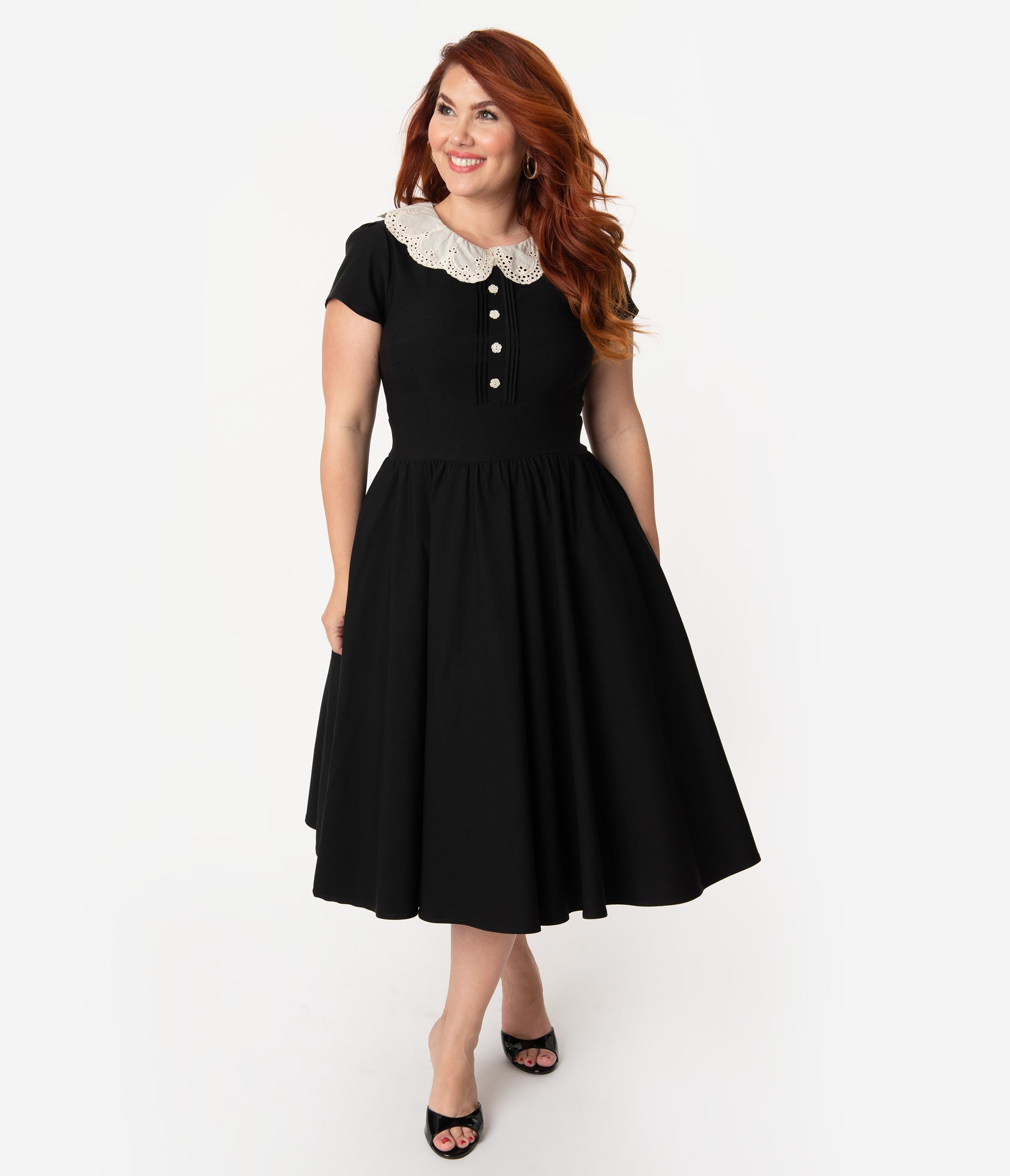 Plus Size Pin Up Dresses | Plus Size Rockabilly Dresses Stop Staring Plus Size Black With Lace Collar Gladil Swing Dress $141.00 AT vintagedancer.com