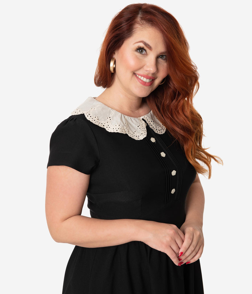 Stop Staring! Plus Size Black With Lace Collar Gladil Swing Dress