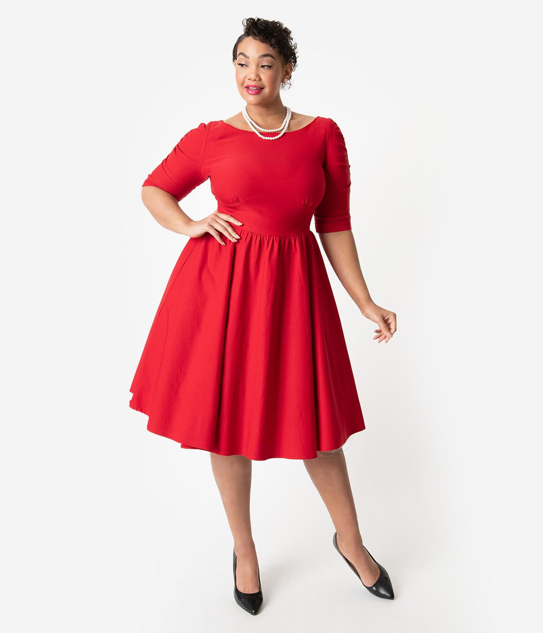 1950s Dresses, 50s Dresses | 1950s Style Dresses Stop Staring Plus Size 1950S Style Red Stretch Sleeved October Swing Dress $178.00 AT vintagedancer.com