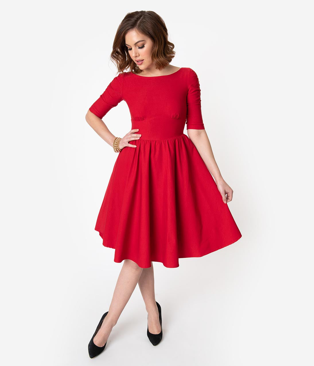 1950s Dresses, 50s Dresses | 1950s Style Dresses Stop Staring 1950S Style Red Stretch Sleeved October Swing Dress $178.00 AT vintagedancer.com