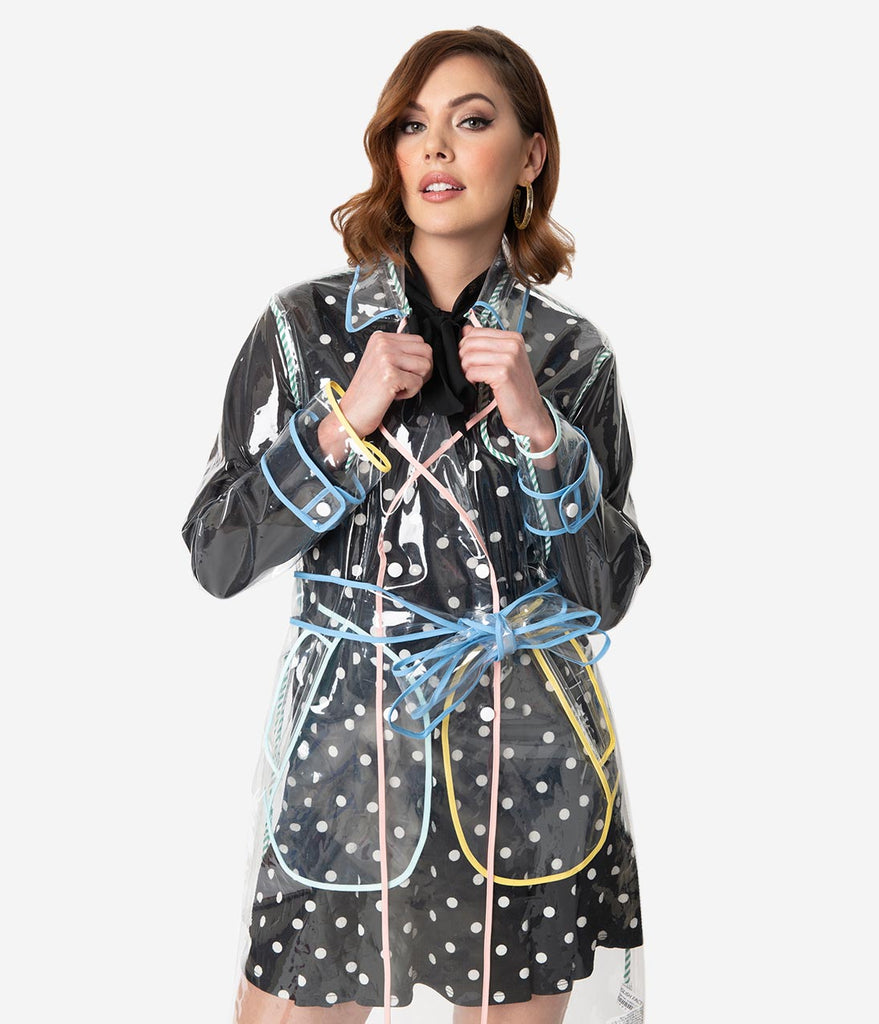 Retro Style Clear Vinyl & Pastel Trim Double Breasted Raincoat