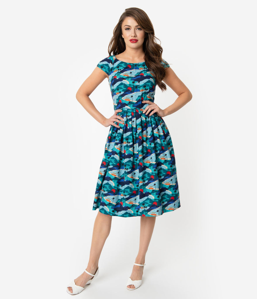 Emily & Fin 1940s Style Blue Road Trippin Cap Sleeve Claudia Swing Dress