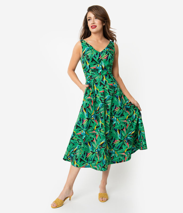 3bc3f95fbff4 Emily   Fin 1940s Style Green Hothouse Palms Print Margot Midi Dress