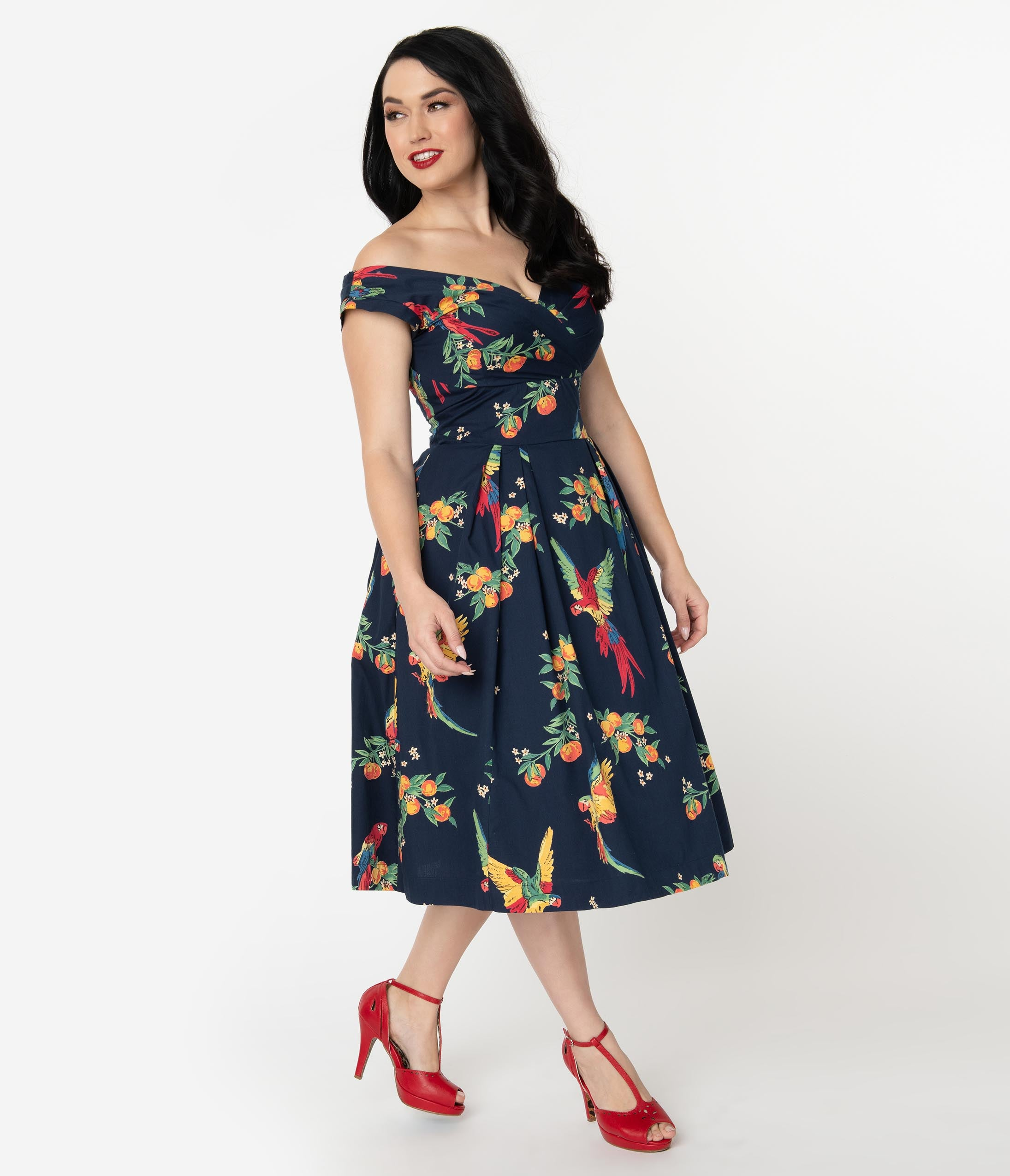 7a94add15301 Emily & Fin 1940s Style Navy Blue & Playful Parrots Cotton Florence Swing  Dress