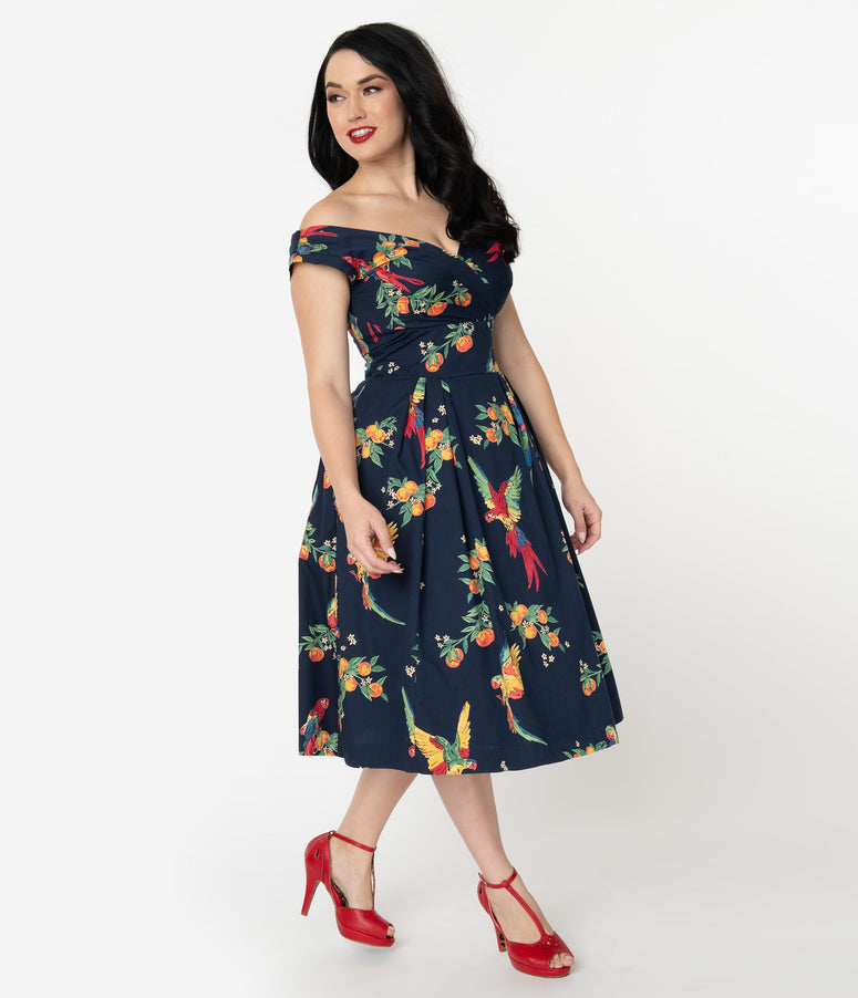 fbe3263fc0 Emily & Fin 1940s Style Navy Blue & Playful Parrots Cotton Florence Swing  Dress