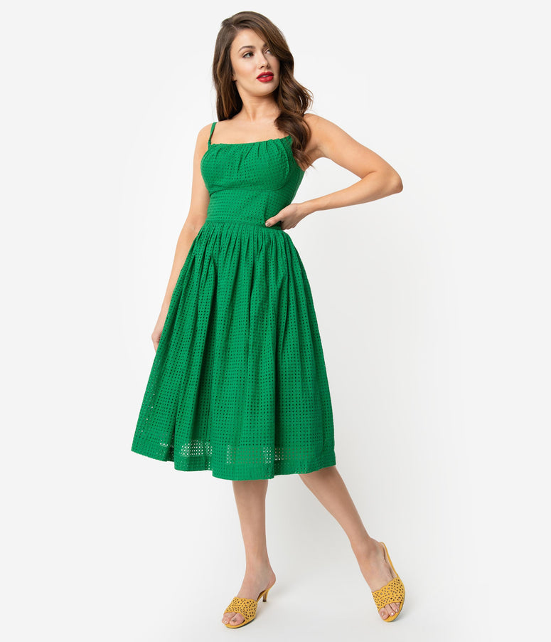 f2d9c768e1b7 Emily   Fin 1950s Style Palm Green Broderie Anglaise Enid Swing Dress