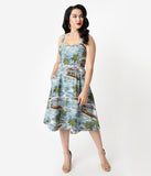 Emily & Fin 1950s Style Light Blue Pacific Island Paradise Scene Pippa Swing Dress