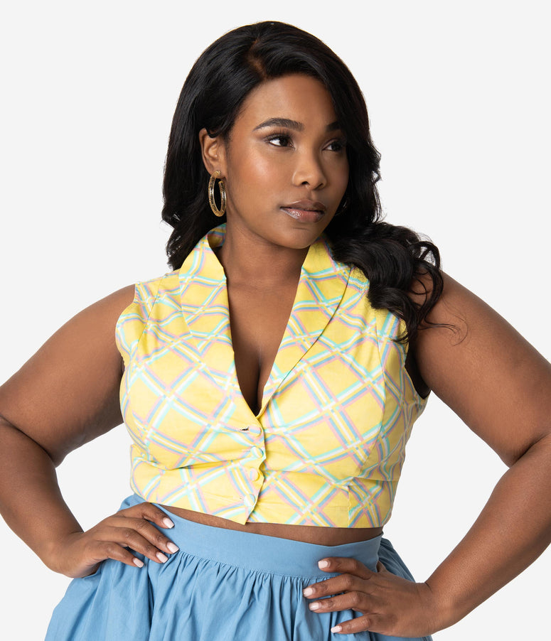Bettie Page Plus Size Yellow Sunshine Tucson Sleeveless Cotton Crop Top