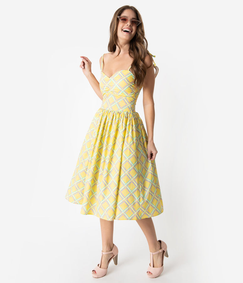 Bettie Page 1950s Style Yellow Sunshine Deena Swing Dress