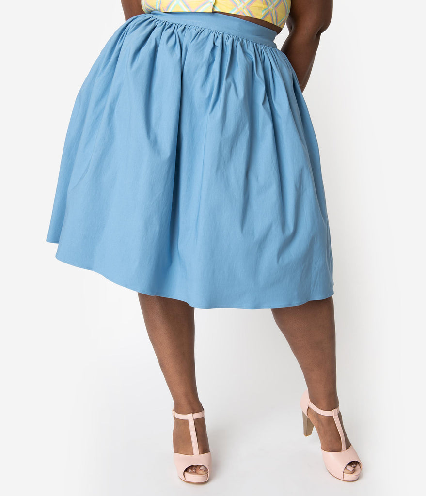 Bettie Page Plus Size 1950s Style Chambray Blue High Waist Ellie Swing Skirt