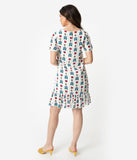 Ivory Floral Queen Print Short Sleeve Peplum Shift Dress
