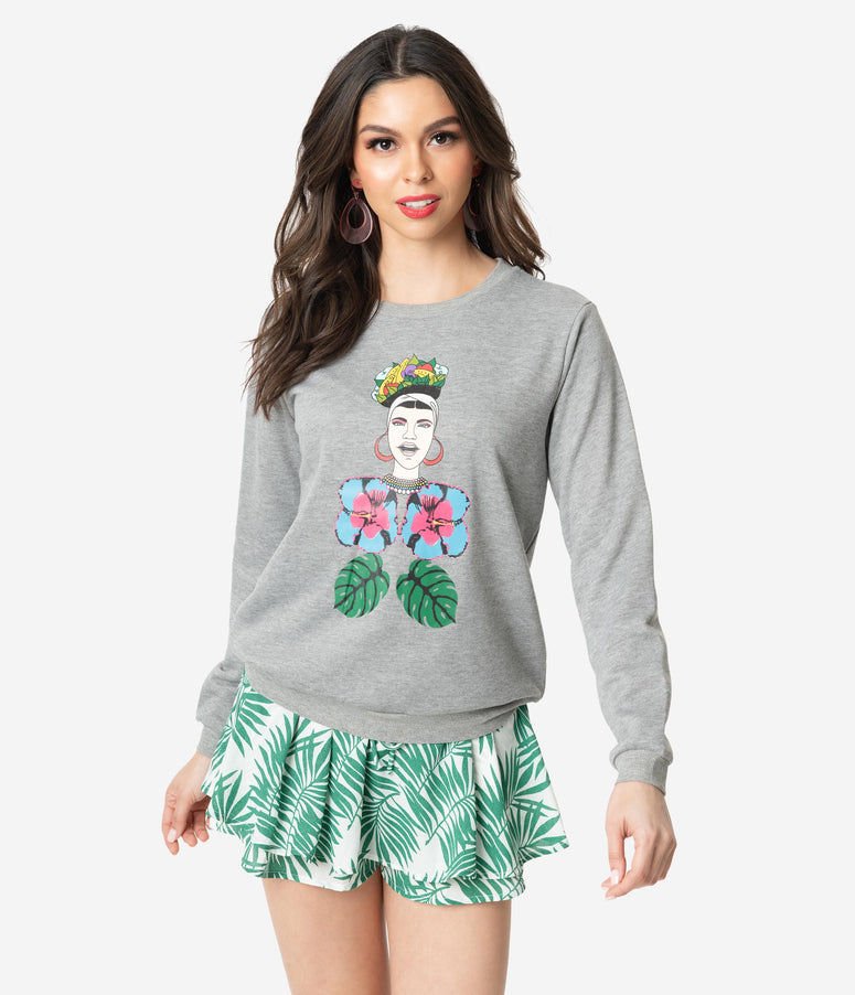 Grey Floral Queen Print Long Sleeve Sweatshirt