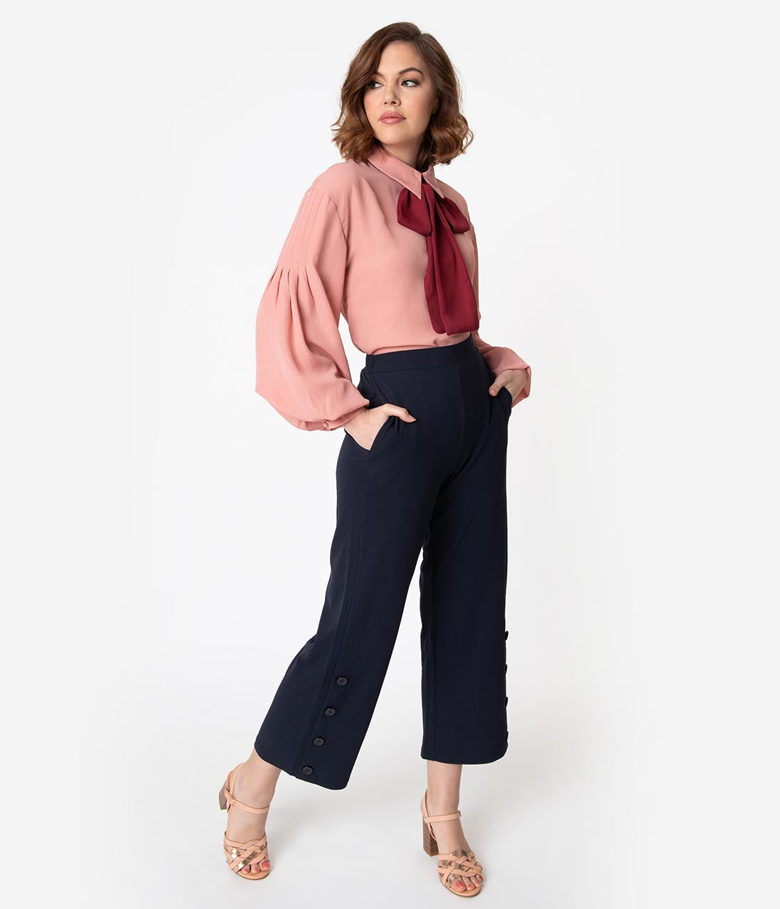 Vintage High Waisted Trousers, Sailor Pants, Jeans 1940S Style Navy Blue Button Trocadero Crop Pants $58.00 AT vintagedancer.com