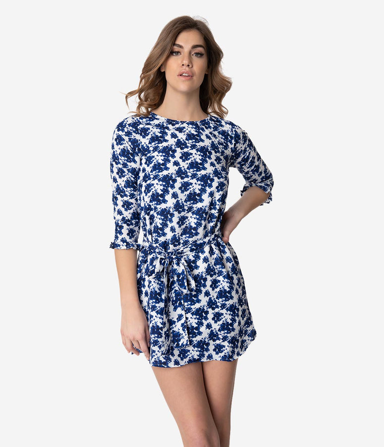 Retro Style White & Blue Floral Print Sleeved Shift Dress