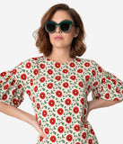 Cream & Red Poppy Floral Print Puff Sleeve Shift Dress
