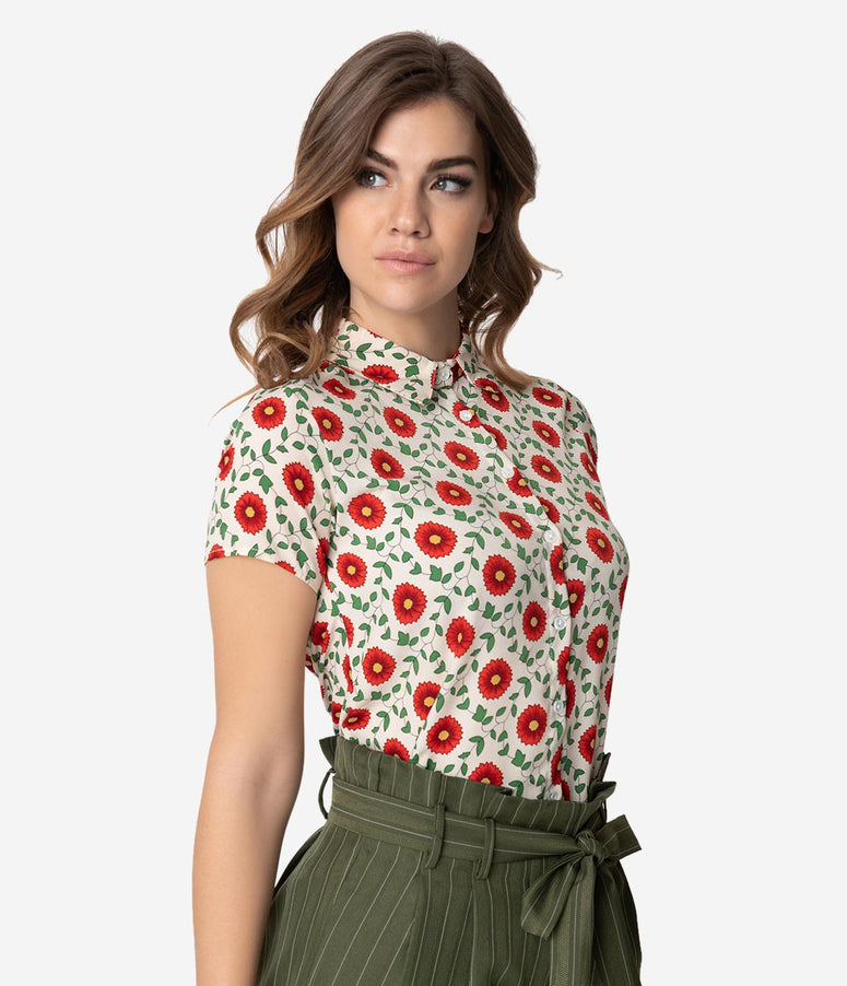 Cream & Red Poppy Floral Print Shirt Sleeve Blouse