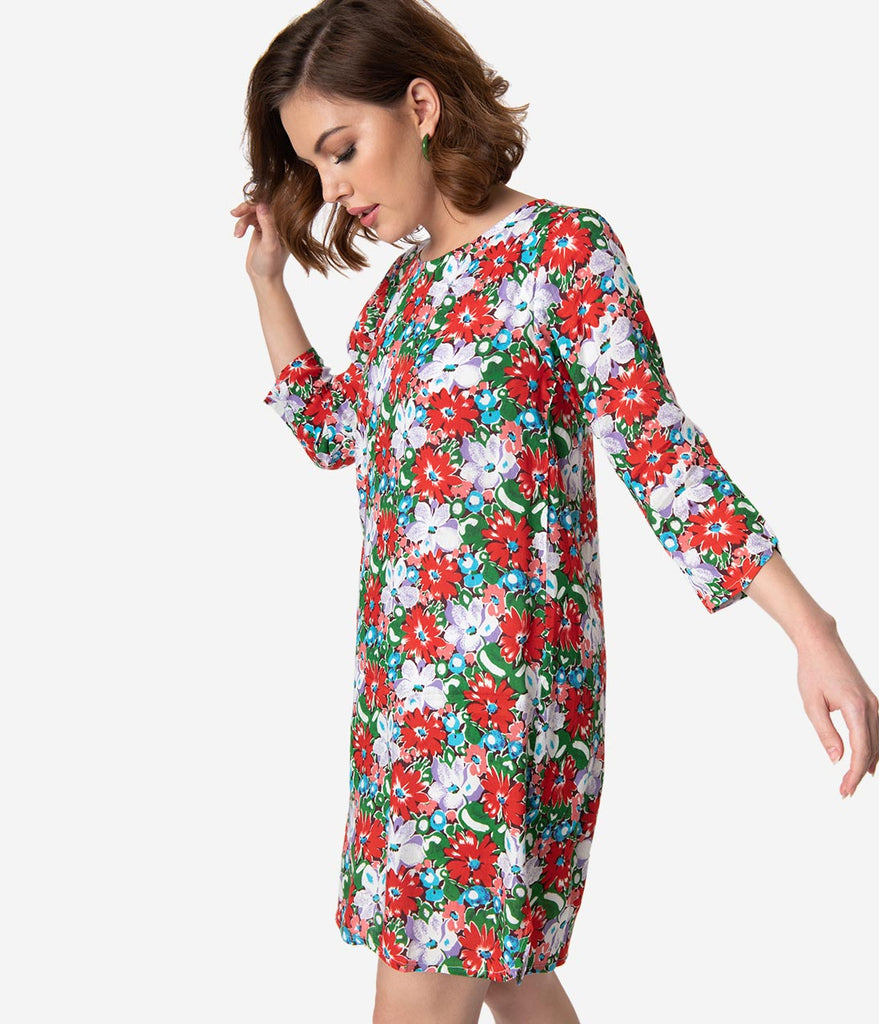 Retro Style Multicolor Floral Print Sleeved Shift Dress
