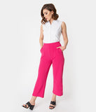 1940s Style Hot Pink Button Trocadero Crop Pants