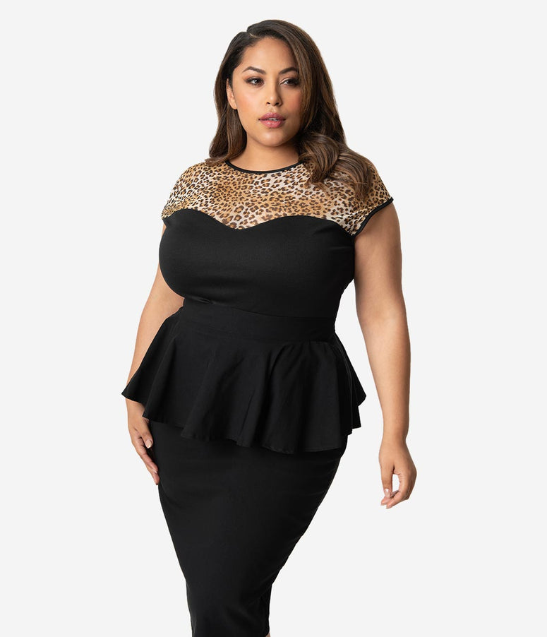 d449595e4e488 Steady Plus Size Retro Black   Leopard Mesh Cap Sleeve Miss Fancy Top