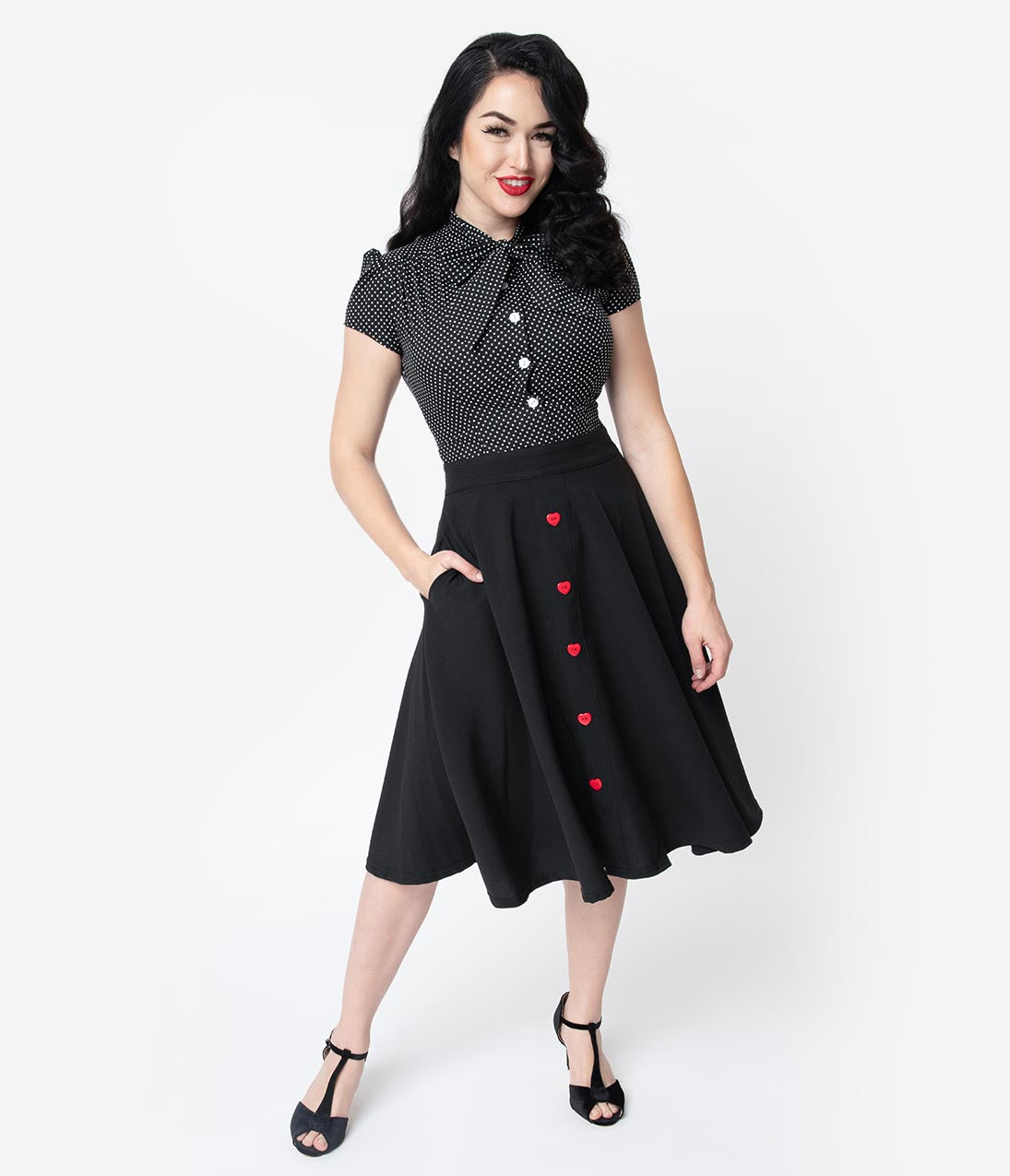 Vintage Christmas Dress | Party Dresses | Night Out Outfits Steady Black  Red Button Be Still My Heart High Waisted Thrills Skirt $52.00 AT vintagedancer.com