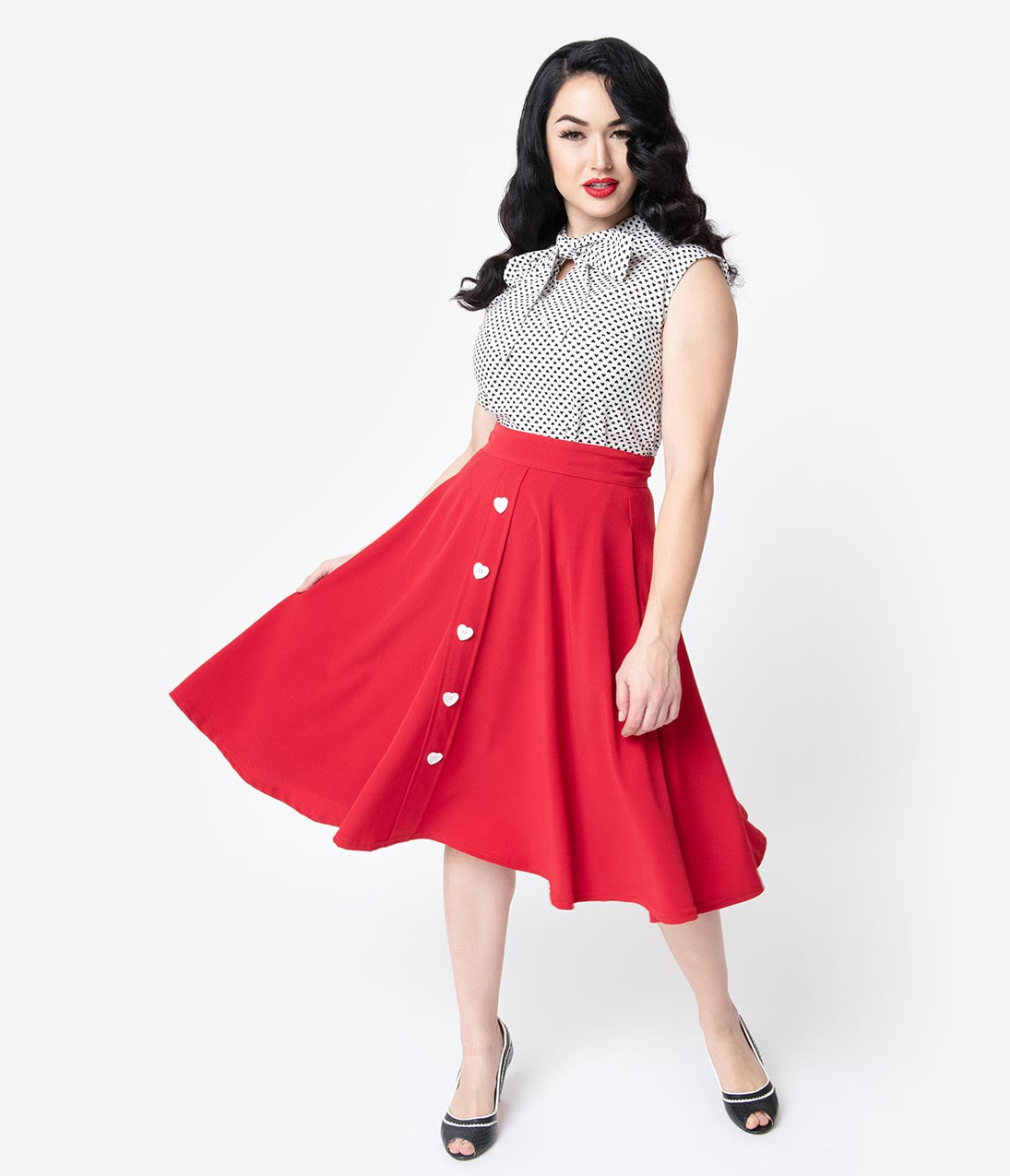 Vintage Christmas Dress | Party Dresses | Night Out Outfits Steady Red  White Button Be Still My Heart High Waisted Thrills Skirt $52.00 AT vintagedancer.com