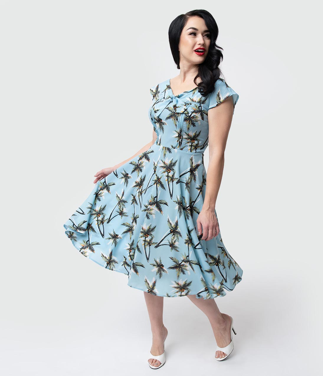 Vintage Tea Dresses, Floral Tea Dresses, Tea Length Dresses Unique Vintage 1940S Style Light Blue Palm Tree Print Havilland Dress $78.00 AT vintagedancer.com