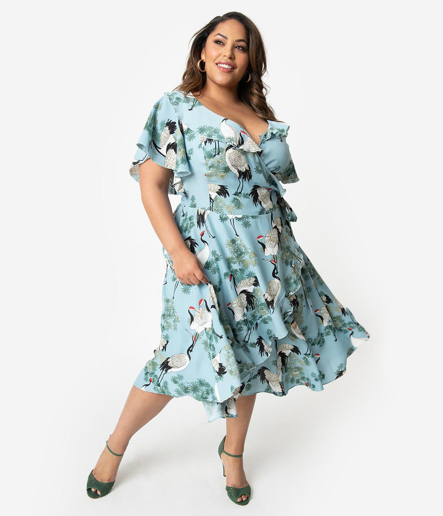 Unique Vintage Plus Size 1940s Light Blue & White Crane Print Luella Wrap Dress