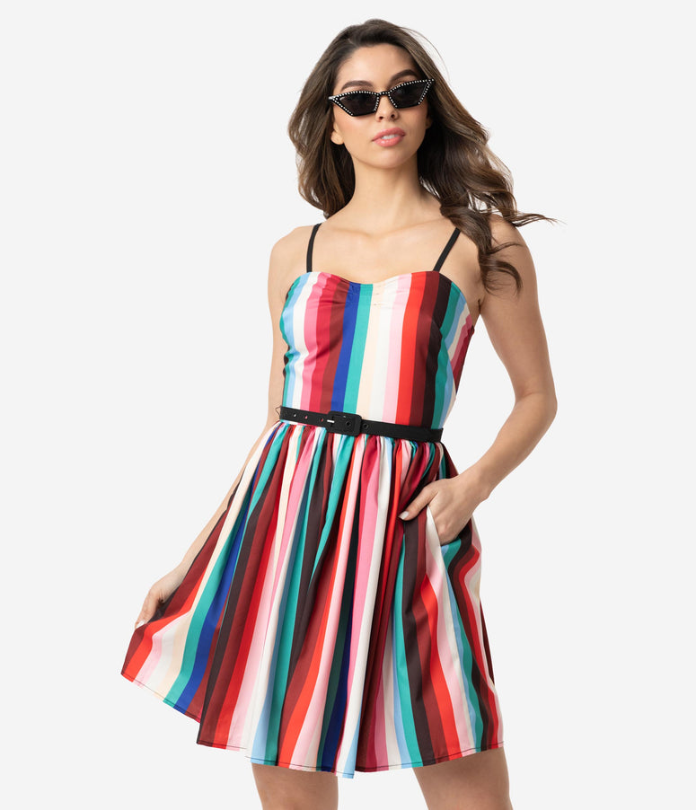 Unique Vintage 1950s Style Multicolor Stripe Darcy Flare Dress