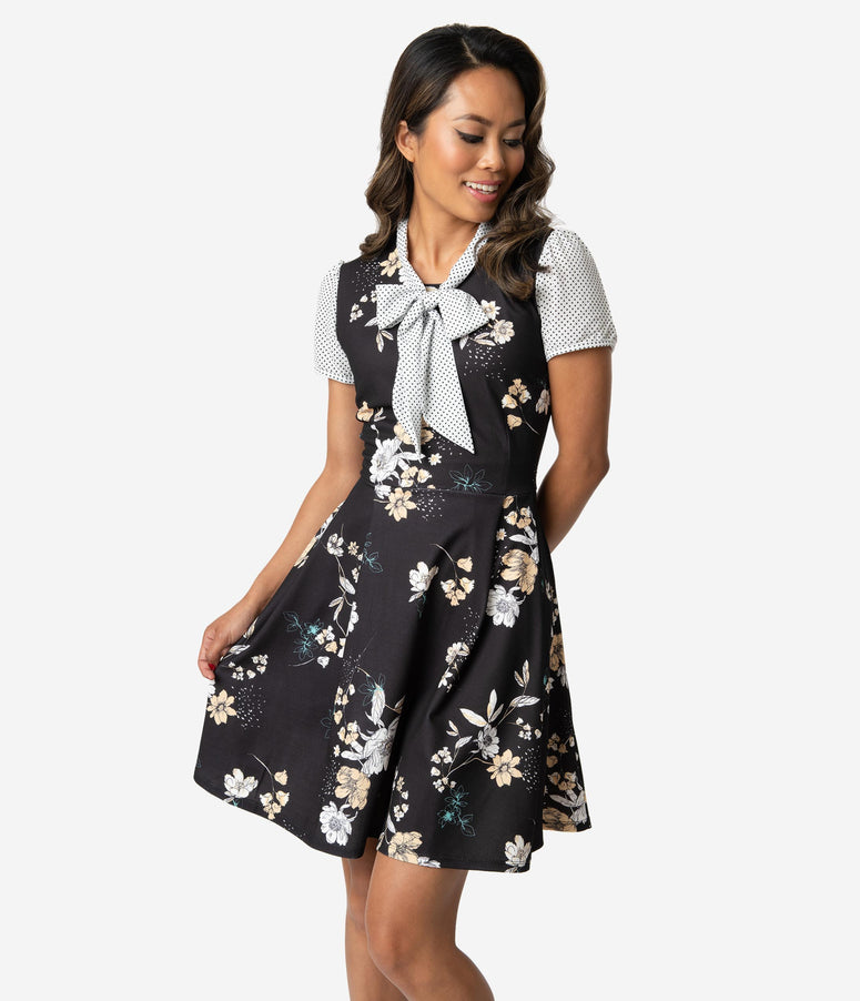 d0fbfa6197 Smak Parlour 1960s Style Black Floral & White Dotted Empower Hour Fit &  Flare Dress
