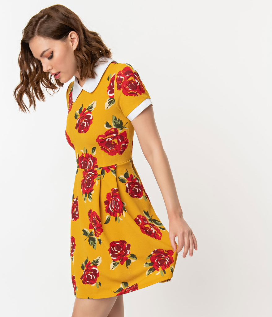 Smak Parlour Mustard & Red Floral Babe Revolution Fit & Flare Dress