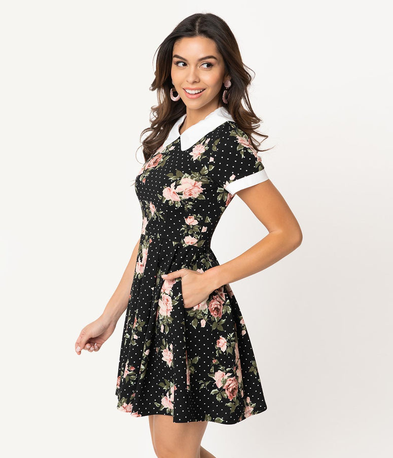 f981946d87 Smak Parlour Black & White Polka Dot Pink Floral Babe Revolution Fit &  Flare Dress