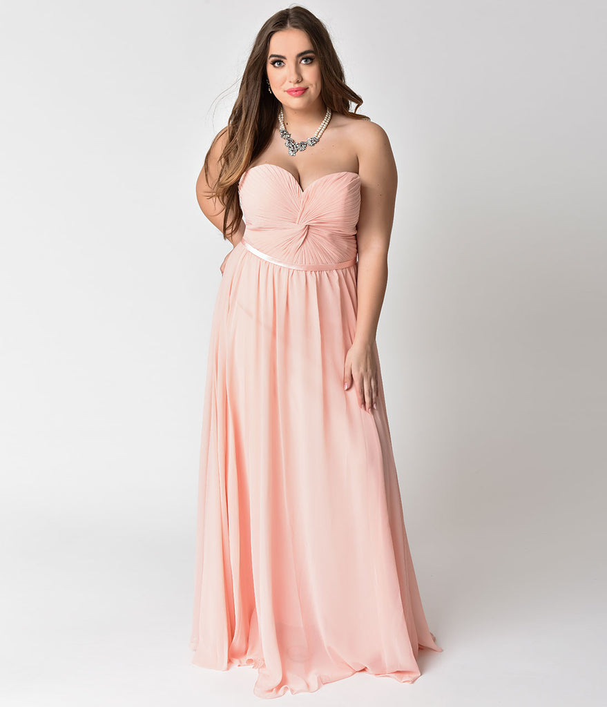 fcf184513 Blush Pink Chiffon Strapless Sweetheart Corset Long Gown – Unique Vintage