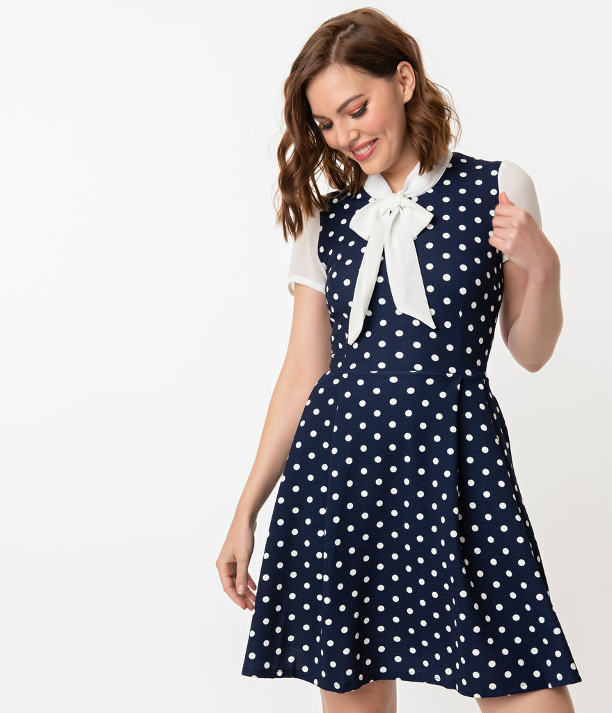 Smak Parlour 1960s Style Navy & White Polka Dot Empower Hour Fit & Flare Dress