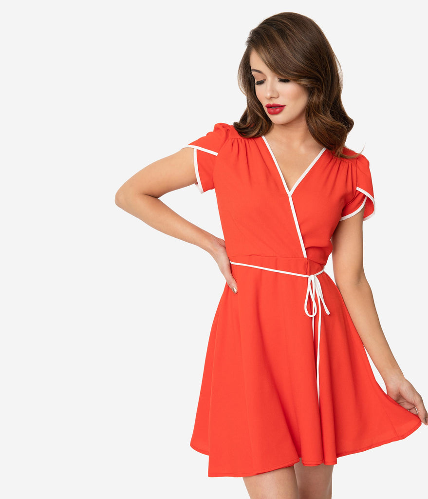 Smak Parlour Red & White Trim Pretty Woke Flare Dress