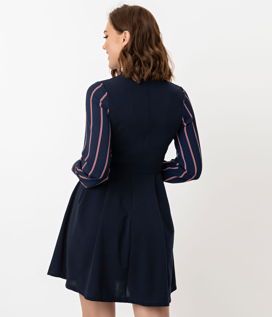 Smak Parlour Navy & Red Stripe Crepe Sleeve She.E.O. Fit & Flare Dress