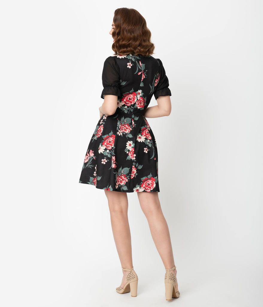 Smak Parlour Black & Red Floral Half Sleeve Ruffle Riot Fit & Flare Dress