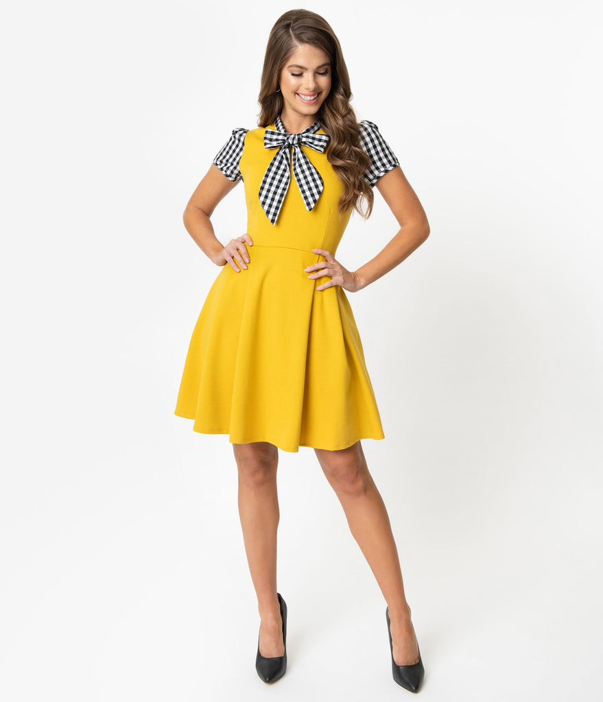 Smak Parlour 1960s Style Mustard & Black Gingham Empower Hour Fit & Flare Dress