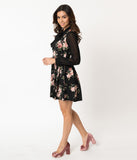Smak Parlour Black & Pink Floral Pin Dot Print Chiffon Sleeve She.E.O. Fit & Flare Dress