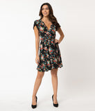 Smak Parlour Black Multicolor Floral Print Pretty Woke Faux Wrap Flare Dress