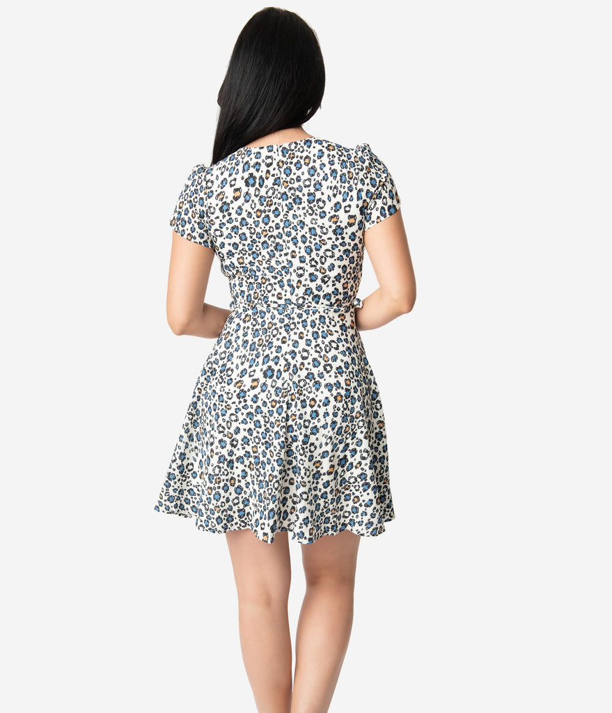 Smak Parlour Cream Leopard Print Crepe Pretty Woke Faux Wrap Flare Dress