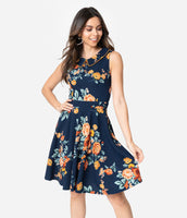 Modest A-line Pocketed Piping Banding Fitted Hidden Back Zipper Vintage Short Floral Print Fit-and-Flare Collared Knit Sleeveless Princess Seams Waistline Dress
