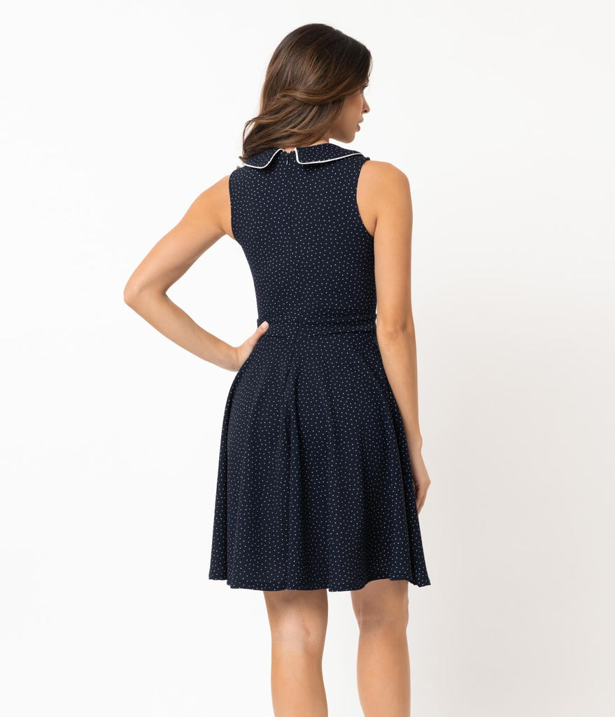 Smak Parlour 1960s Style Navy & White Pin Dot Female Forward Sleeveless Fit & Flare Dress