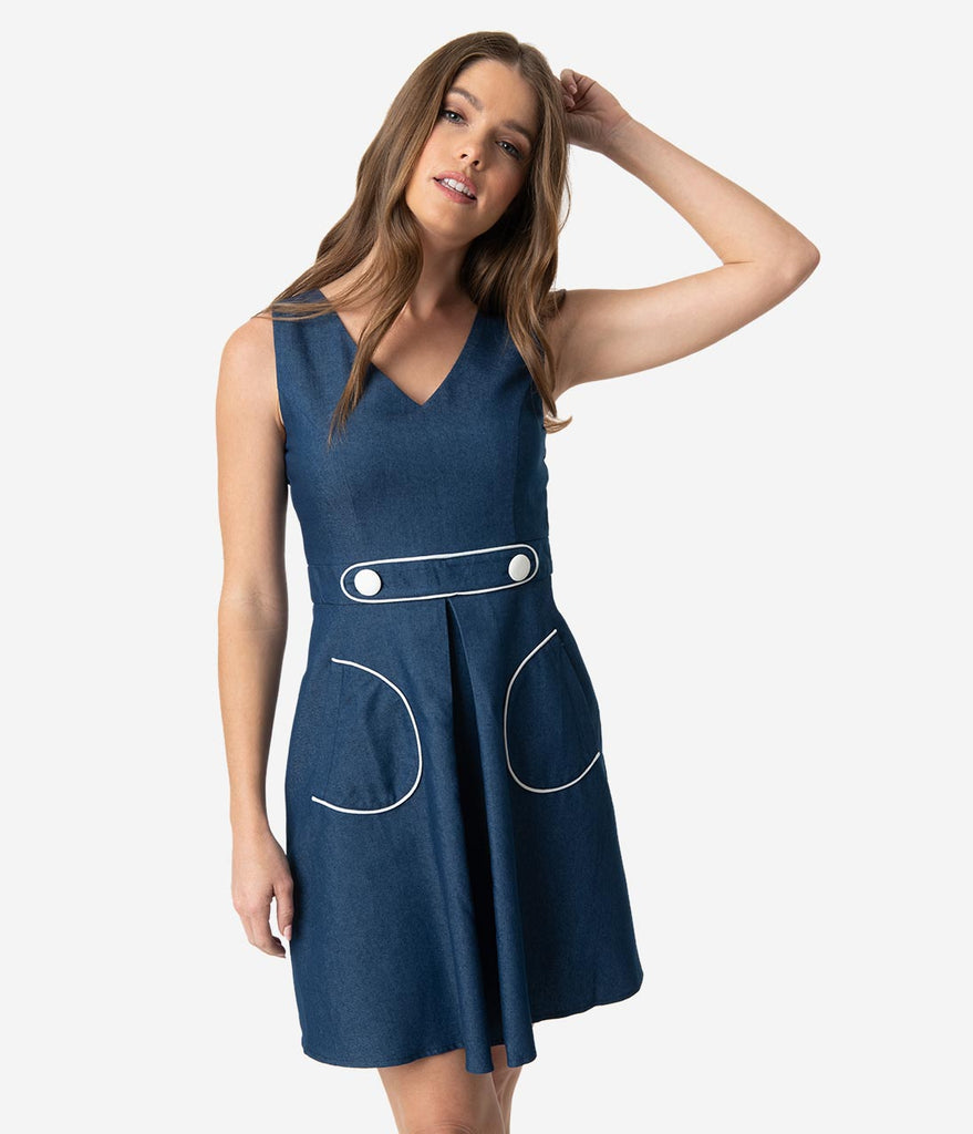 Smak Parlour 1970s Style Blue Denim Cotton For Keeps Fit & Flare Dress