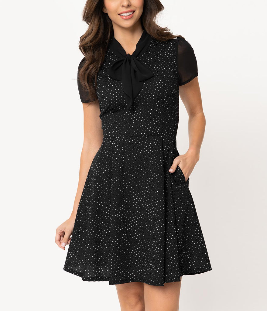 Smak Parlour 1960s Style Black & White Pin Dot Empower Hour Fit & Flare Dress