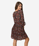 Smak Parlour Multicolor Floral Print Crepe Sleeved Lead Like A Girl Fit & Flare Dress