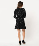 Smak Parlour Black & White Feather Print Crepe Savvy Scene Fit & Flare Dress